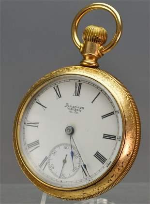 19th C. Amer. Waltham Gold Filled Pocket Watch