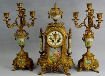 """Gilbert """"Alexis"""" Ormolu Clock and Candelabras"""
