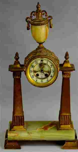 "Gilbert ""Belgrade"" Gilt Metal & Onyx Clock"