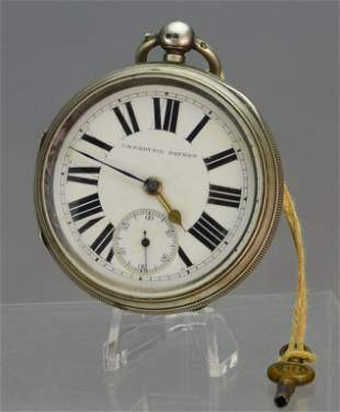 Sterling Silver Improved Patent Pocket Watch