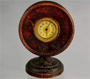 Tramp or Folk Art Carved Wood Cased Clock