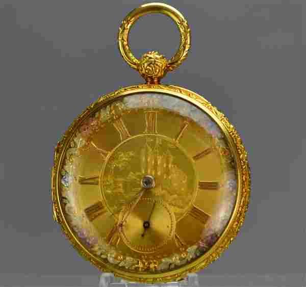 18k Gold Enamel M.I. Tobias Pocket Watch