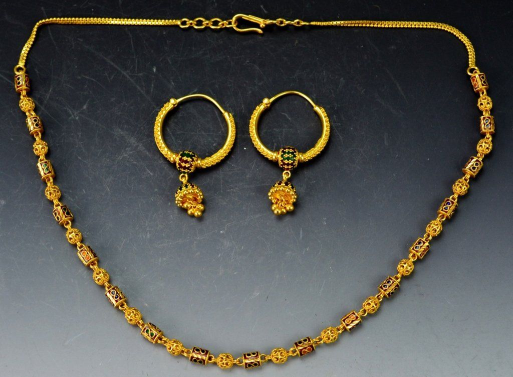 22k YG Enamel Necklace and Earring Grouping