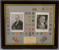 Framed Presidential Stamps Grouping