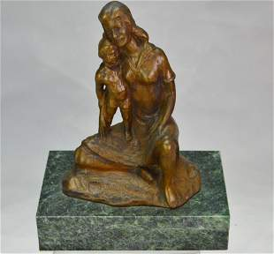 Vinardi Bronze of A Mother and Child