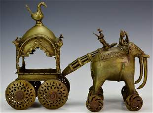 Antique Bronze Oriental Elephant Pulled Carriage