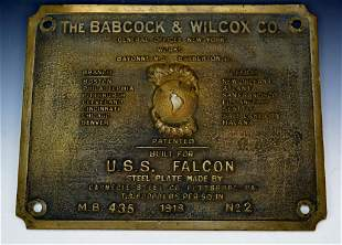USS Falcon Bronze Plaque circa 1918