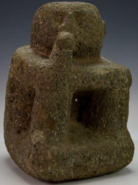 Costa Rican Volcanic Stone Squatting Figure