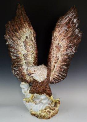 Majolica Figural Eagle Sculpture