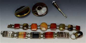 Scottish Agate Jewelry Grouping