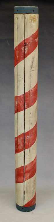 Early Bilco Painted Wood Barber Pole