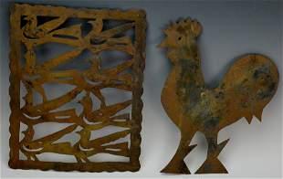 Tin Rooster & Distlefink Cutout Grouping