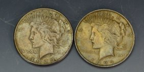 1922 And 1923 Silver Peace Dollar Grouping