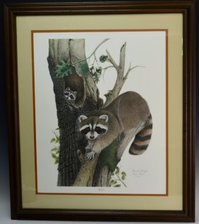 Frank Reisiger Raccoon Signed Print