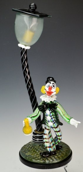 Murano Art Glass Lamp With Clown