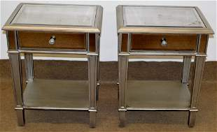 Mid Century Modern Style Mirrored Side Tables