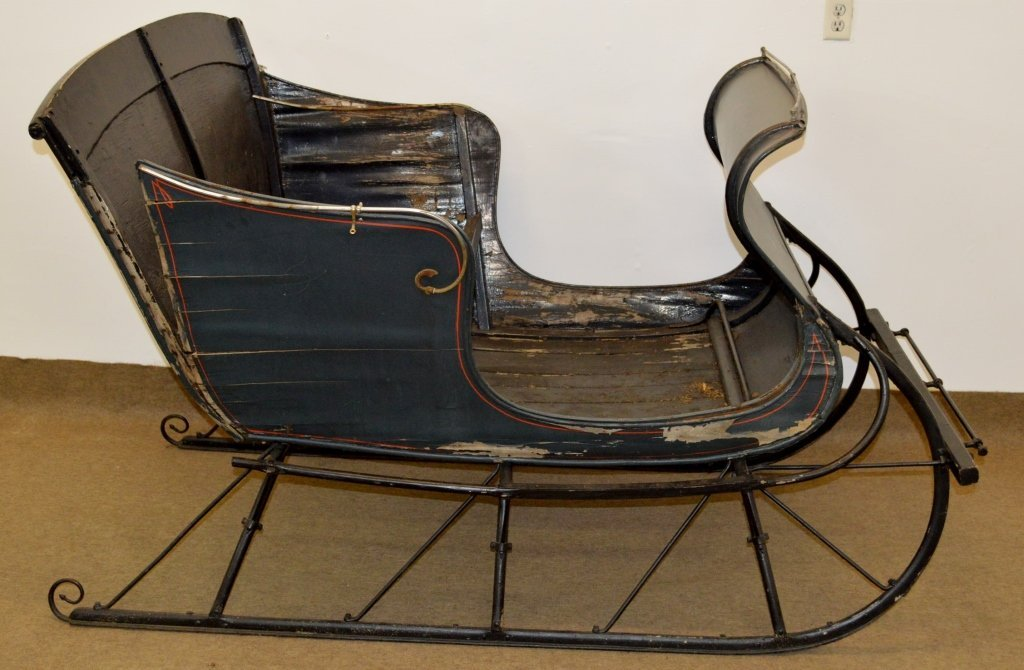 Antique Horse Drawn Sleigh with Wrought Iron Trim