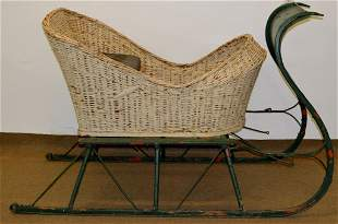 Antique Horse Drawn Sleigh with Wicker Carriage