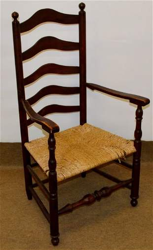 Antique Ladder Back Chair with Rush Seat