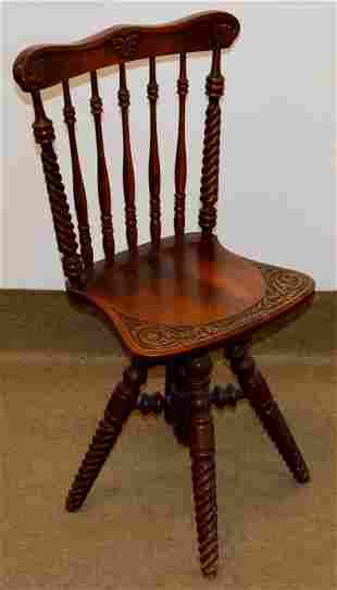 Antique Carved Piano Chair