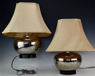 Modern Chrome Mirrored Lamp Grouping