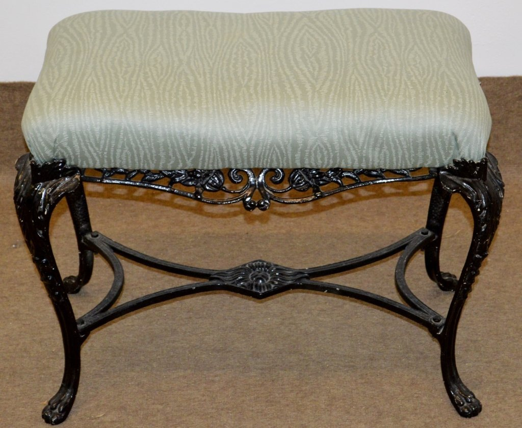 Antique Ornate Wrought Iron Bench