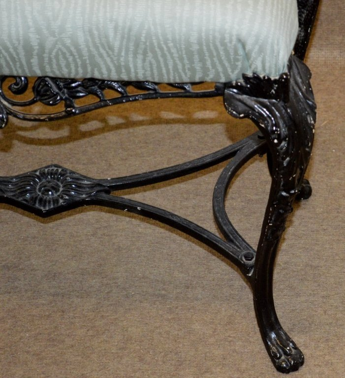 Antique Ornate Wrought Iron Bench - 2