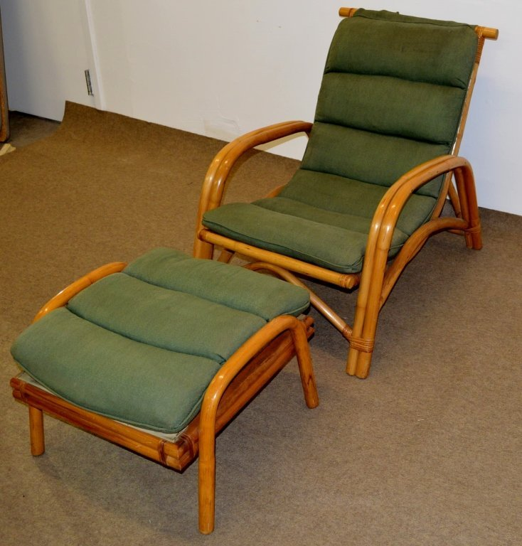 Fricks Reed Style Rattan Lounge Chair & Ottoman