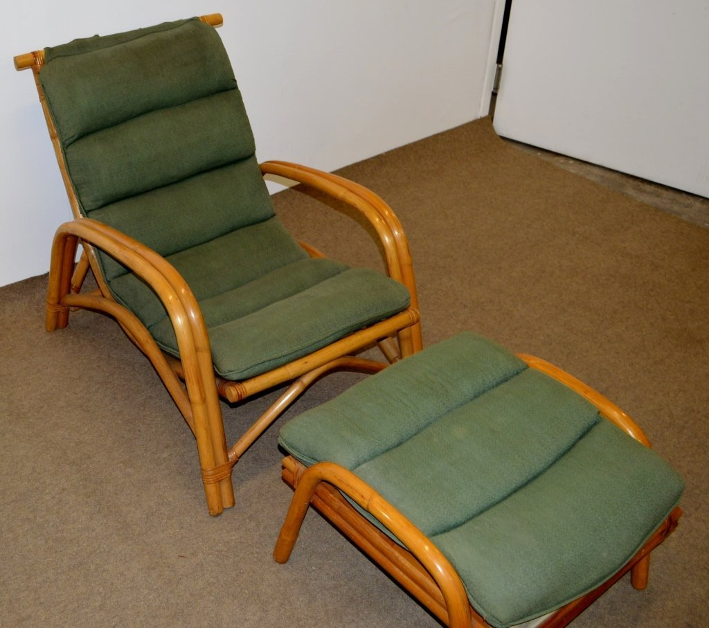 Fricks Reed Style Rattan Lounge Chair & Ottoman - 2