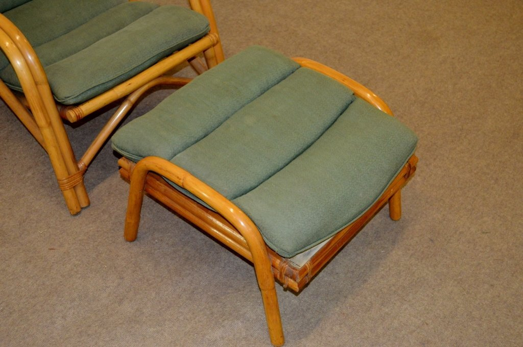 Fricks Reed Style Rattan Lounge Chair & Ottoman - 3
