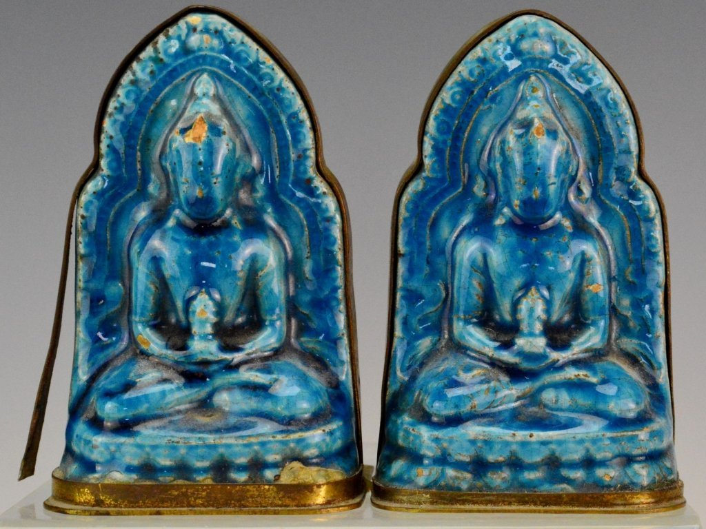 Pair Chinese Blue Glazed Porcelain Buddha Plaques