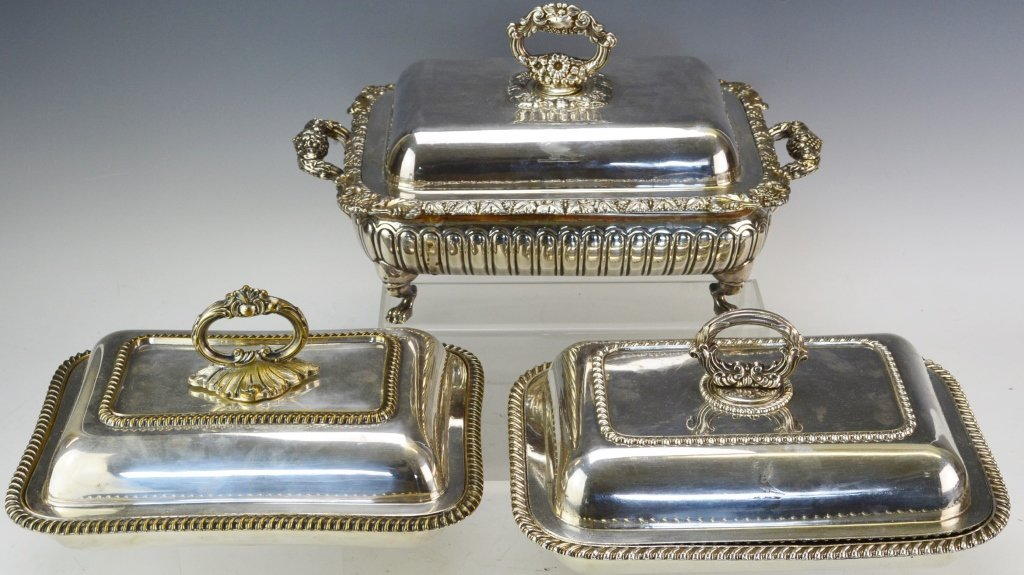 Sheffield Style Silver Plated Chaffing Dishes