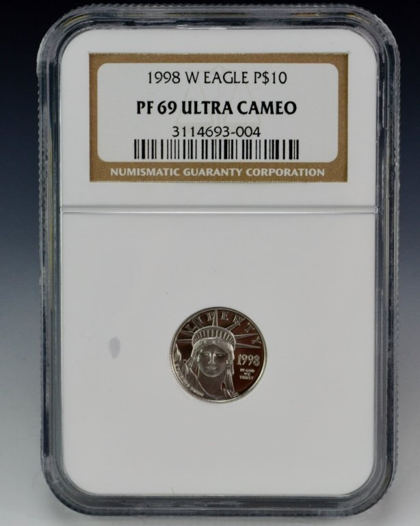 1998 W Eagle Platinum Coin $10 NGC PF69