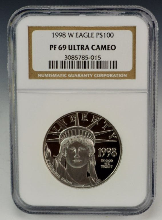 1998 W Eagle Platinum Coin $100 NGC PF69
