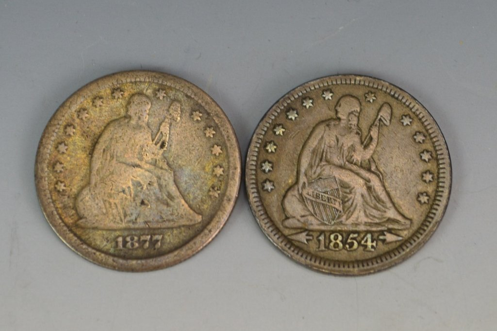 1854 and 1877 US Silver Quarter Grouping