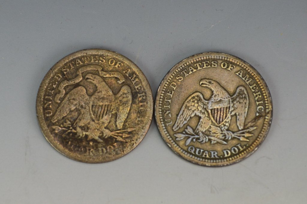 1854 and 1877 US Silver Quarter Grouping - 2