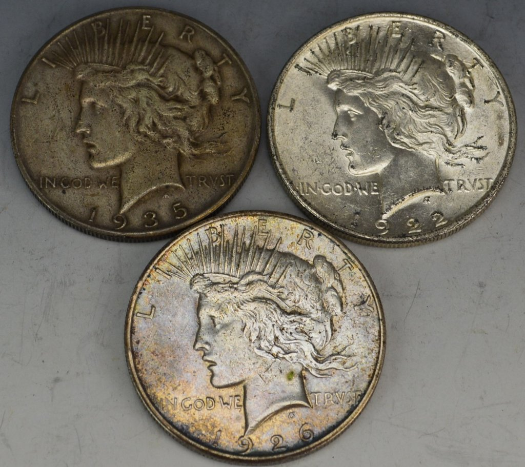 US Silver Peace Dollar Grouping