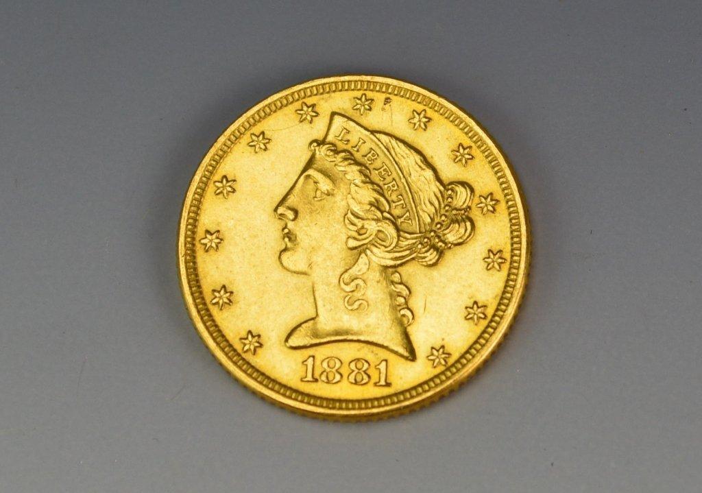 1881 $5 US Gold Half Eagle Coin