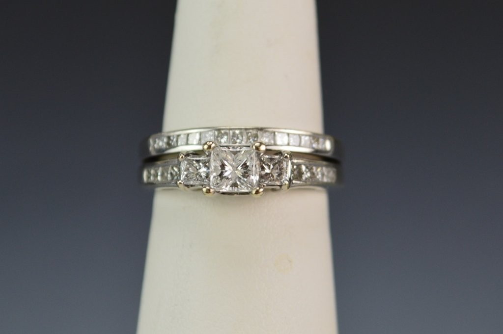 14K WG Engagment and Wedding Ring