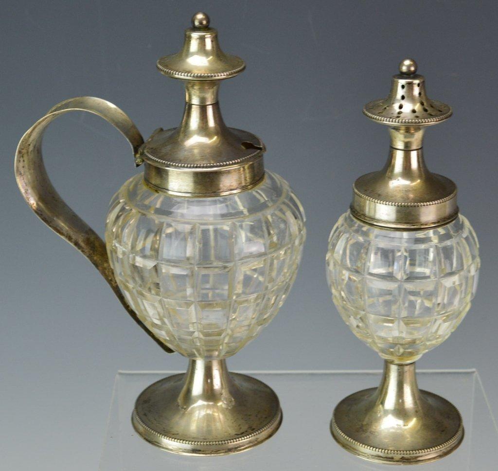 Dutch Silver & Glass Muffineer Cruet Set