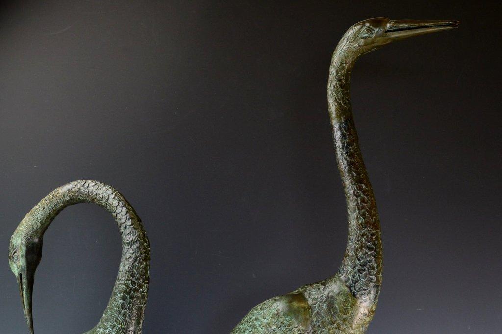Signed Bronze Crane Sculptures - 2