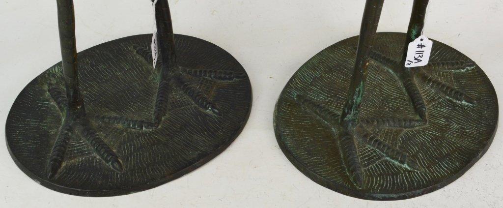 Signed Bronze Crane Sculptures - 4