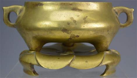 Early Chinese Gilt Bronze Censer and Stand