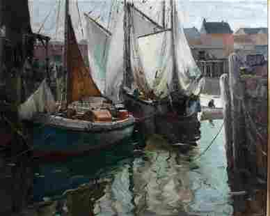 Anthony Thieme (1888-1954) Fishing Smacks