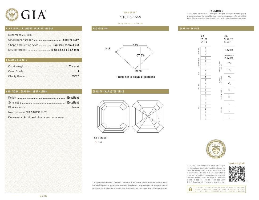 1.02 ct, Color I/VVS2, Sq. Emerald cut Diamond - 3