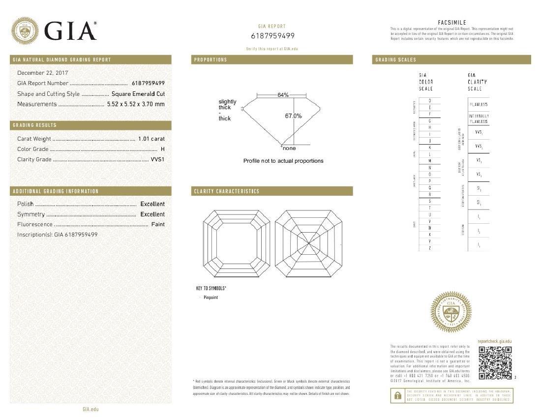 1.01 ct, Color H/VVS1, Sq. Emerald cut Diamond - 3