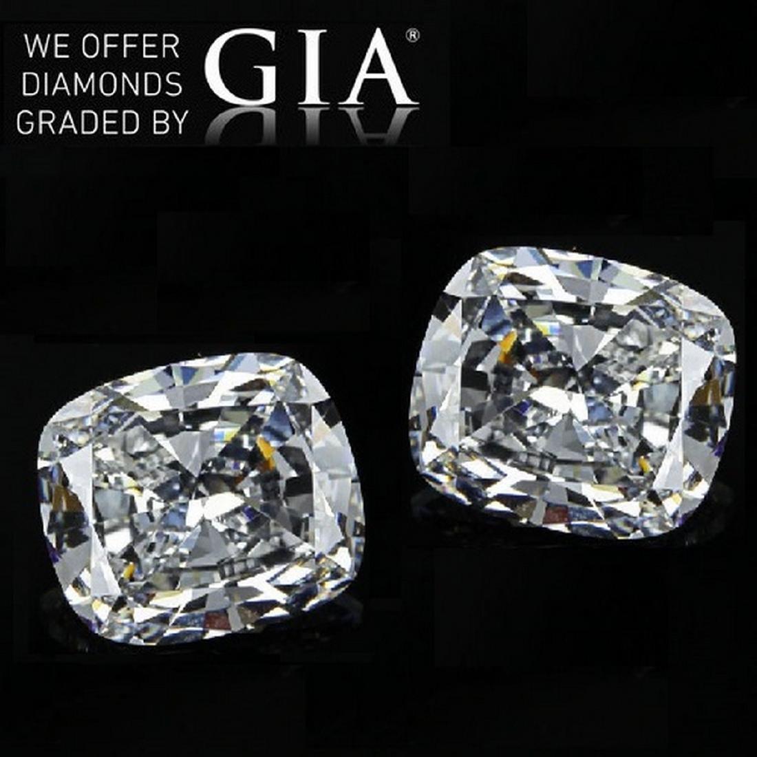 6.03 ct Cushion cut Diamond Pair