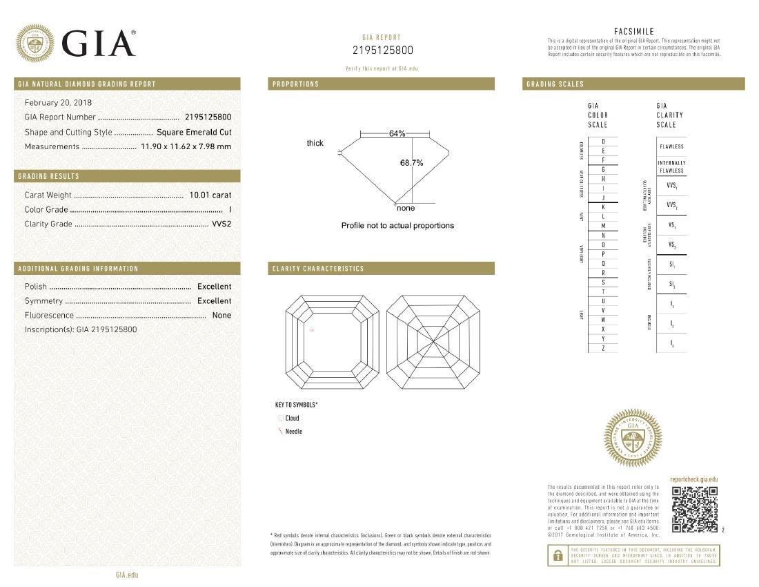 10.01 ct, Color I/VVS2, Sq. Emerald cut Diamond - 3