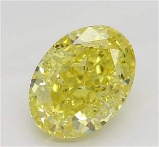 102 ct Vivid YellowVS2 Oval cut Diamond