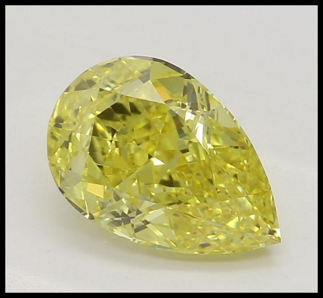 1.08 ct, Vivid Yellow/VVS2, Pear cut Diamond